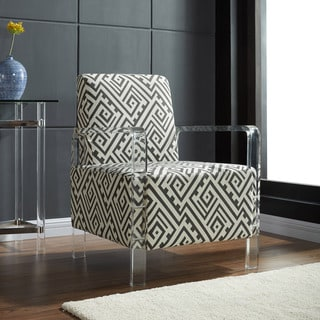 Valentina Grey and White Fabric Accent Chair with Acrylic Arms