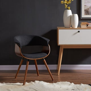 Holt Mid-century Grey Fabric and Walnut Accent Chair
