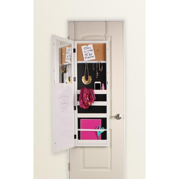 shop designovation stradford black white over the door storage mirror free shipping today. Black Bedroom Furniture Sets. Home Design Ideas