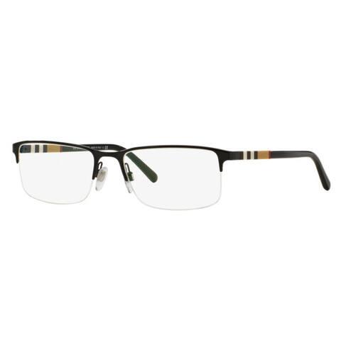 Burberry Unisex BE1282 1001 Black Rectangle Semi Metal Rimless Eyeglasses with 55mm Lens