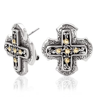 Avanti Sterling Silver and 18k Yellow Gold Cross Shape Button Earrings