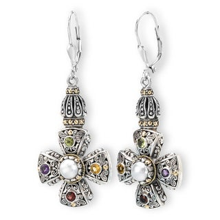 Avanti Sterling Silver and 18k Yellow Gold Mother of Pearl and Multi Color Gemstone Earrings