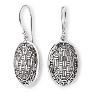 Avanti Sterling Silver Woven Design Oval Shaped Dangle Earrings