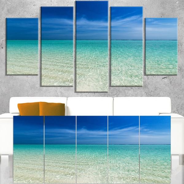 Turquoise Ocean Under Blue Sky - Modern Seascape Canvas Artwork