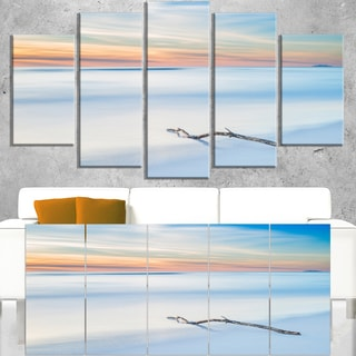 Wood Branch on Beach at Twilight - Modern Seascape Canvas Artwork