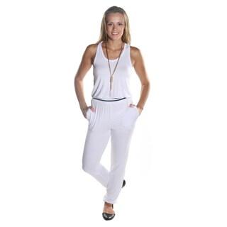 Hadari Women's Sleeveless White Scoop Neckline Pant Jumpsuit with Elastic Waistline and Ankle Cuff