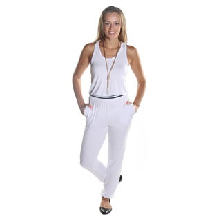Hadari Women's Sleeveless White Scoop Neckline Pant Jumpsuit with Elastic Waistline and Ankle Cuff