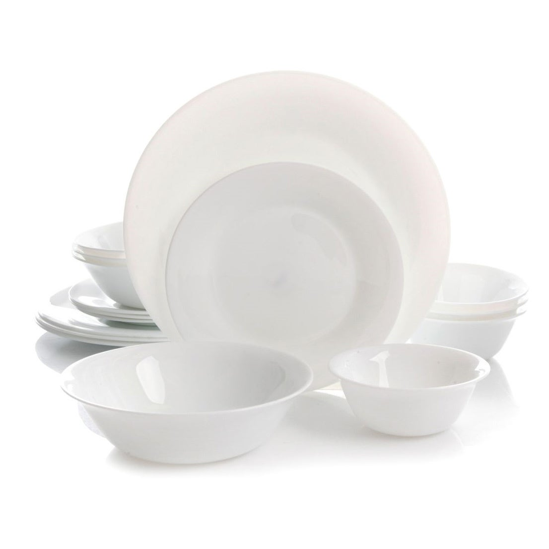 Gibson Oster Della 16pc Double Bowl Dinnerware Set, White...