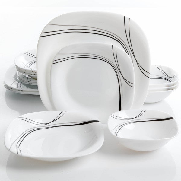 Oster Falan 16pc Double Bowl Dinnerware Set