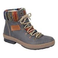 Women's Rieker-Antistress Felicitas 43 Lace Up Ankle Boot Basalt/Nuss/Orange Multi Synthetic