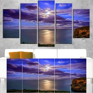 Moon Reflecting in Blue Sea - Modern Seascape Canvas Artwork