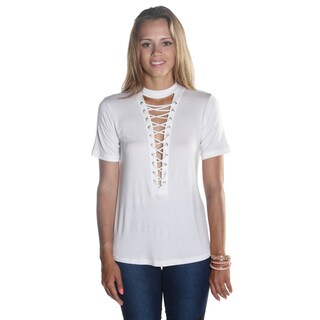Hadari Women's Short Sleeve Loosefit White Top with keyhole Neck and sexy frontal Criss Cross cut