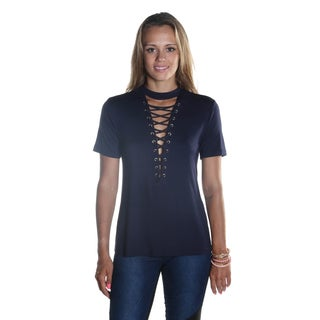 Hadari Women's Short Sleeve Loosefit Navy Top with keyhole Neck and sexy frontal Criss Cross cut