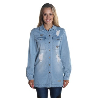 Hadari Women's Long Sleeve Button Down Ripped Style Knee Length Denim Jacket with UNIQ embroidery on bottom Left