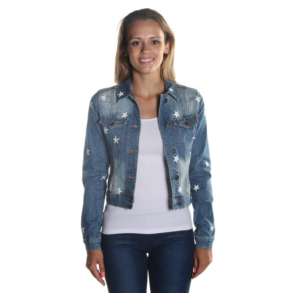 Hadari Womenu0026#39;s Classic Collar Denim Long Sleeve Button Down Jacket with Star Print Pattern and ...