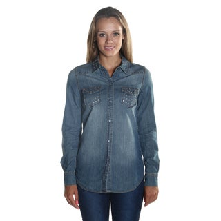 Hadari Women's Studded Wing Collar Button Down Long Sleeve Denim Blouse with frontal Stud pockets