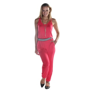 Hadari Women's Sleeveless Pink Scoop Neckline Pant Jumpsuit with Elastic Waistline and Ankle Cuff