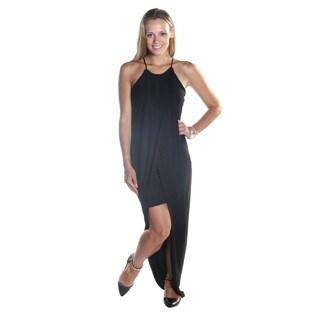 Hadari Women's Spaghetti Strapped Black Loosefit Round Neck Maxi Dress with side Slit
