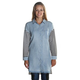 Hadari Women's 3/4 Black and White Stripped Sleeve Knee Length Blouse with classic Wing Collar and Button Down Frontal Opening