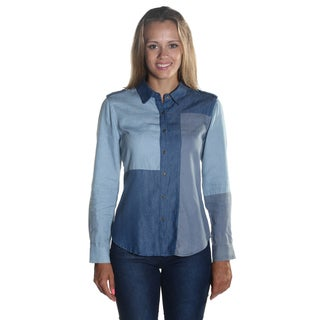 Hadari Women's Long Sleeve Wing Collared Button Down Patched Denim Blouse