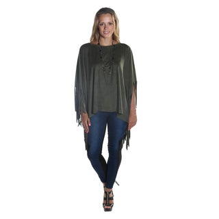 Hadari Women's Round Neckline Olive Suede Fringed Poncho (2 options available)