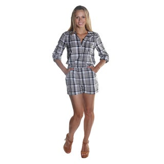 Hadari Women's Black Full Sleeve Button Down Plaid Short Romper with Elastic Waistline and Frontal Pockets