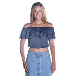 Hadari Women's Dark indigo Off the shoulder Ruffled Scooped Neckline Crop Top