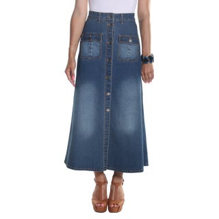 Hadari Women's Ankle Length Button Down Maxi Denim Skirt with frontal pockets
