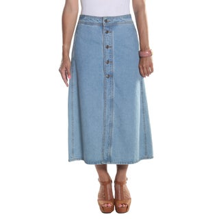 Hadari Women's Ankle Length Button Down Open Center Slit Maxi Denim Skirt with side pockets
