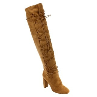 QUPID FC86 Women's Lace Wrap Block Heel Stretchy Over The Knee Boots