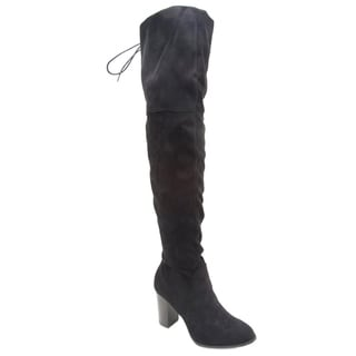 QUPID FC89 Women Lace-up Back Stretchy Over The Knee Stacked Boots Half Size Big