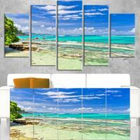 Tranquil Seychelles Tropical Beach - Modern Seascape Canvas Artwork