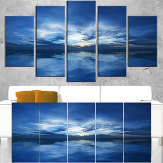 Blue Waters and Blue Sky Sunset - Modern Seascape Canvas Artwork
