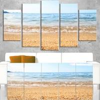 Blue Seashore with Pebble Stones - Modern Seascape Canvas Artwork