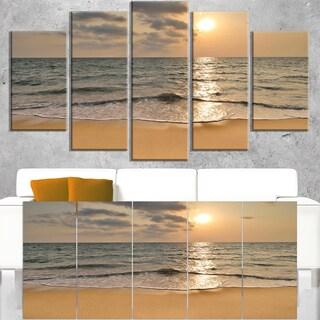 Dark Tropical Sand Beach at Sunset - Modern Seascape Canvas Artwork