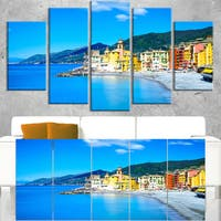 Camogli Church on Sea and Beach View - Extra Large Seashore Canvas Art