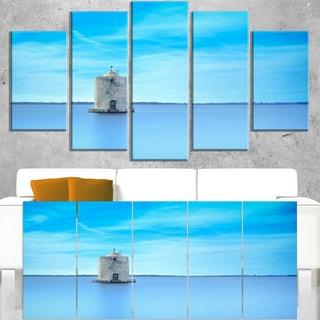 Old Spanish Windmill in Blue Lagoon - Extra Large Seashore Canvas Art