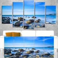 Baratti Bay Rocks in Waters at Sunset - Extra Large Seashore Canvas Art