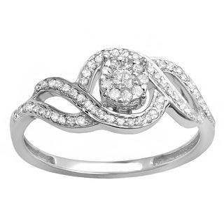 Elora 10k White Gold 1/3ct TDW Round Diamond Bridal Engagement Ring (H-I, I1-I2)