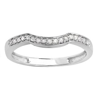 Elora 10k White Gold 1/6ct TDW Round Diamond Anniversary Ring Wedding Matching Guard Band (I-J, I2-I3)
