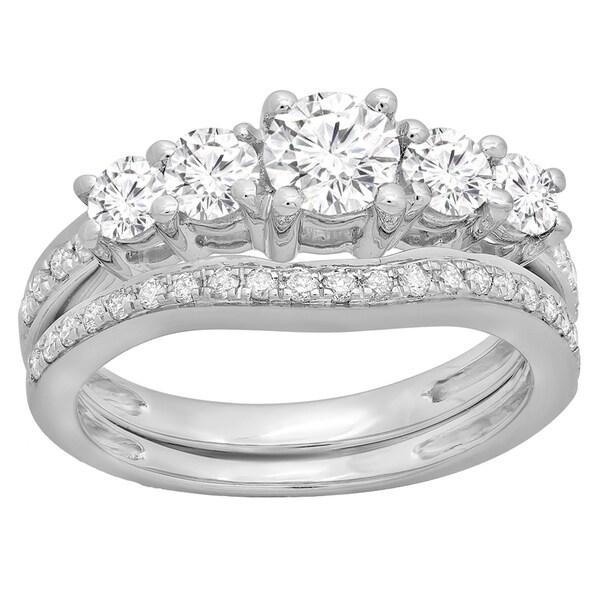 Matching Diamond Engagement And Wedding Ring 1 46ct: Elora 14k Gold 1 1/2ct TDW Round-cut Diamond 5-stone