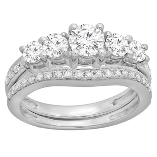 14k Gold 1 1/2ct TDW Round-cut Diamond 5-stone Bridal Engagement Ring With Matching Band Set (H-I, I1-I2)