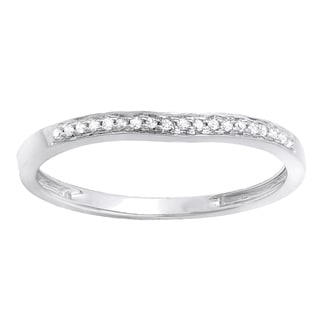 Elora 14k White Gold 1/10ct TDW Round Diamond Anniversary Wedding Matching Band Stackable Ring (I-J, I2-I3