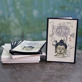 Set of 6 Handcrafted Handmade Paper 'Serene Buddha' Greeting Cards (India)