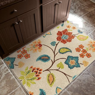 """Aria Collection Garden Chintz Ivory Olefin Accent Rug (2'5"""" x 3'9"""") (As Is Item)"""