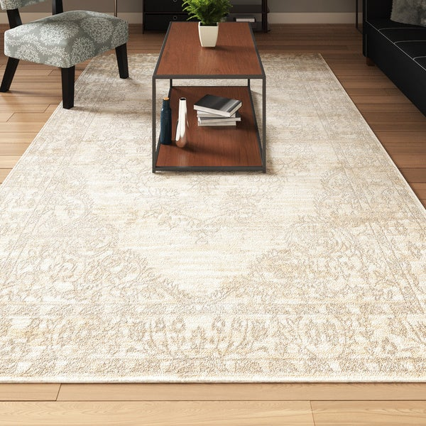 Porch & Den Greenpoint Lorimer Off-White Bone Distressed Oriental Area Rug - 6'7 x 9'6