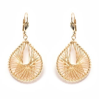 Goldplated Gold Openwork Teardrop Drop Earrings