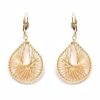 18k Goldplated Gold Openwork Teardrop Drop Earrings