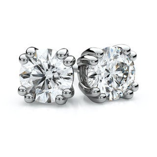 IGI Certified 14k White Gold Double Prong Round Diamond Stud Earrings 2ctw , H-I , SI