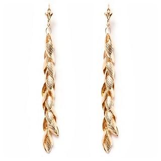 18k Goldplated Leaf Vine Drop Earrings